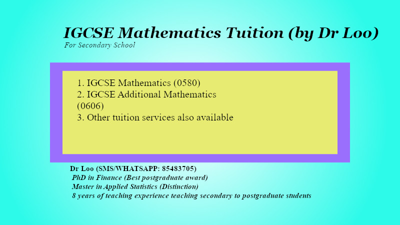 IGCSE Mathematics Tuition Singapore