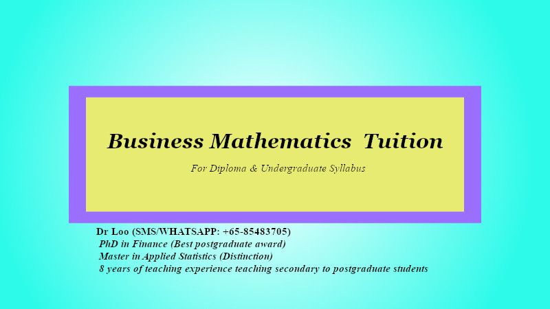 Business Mathematics Tuition in Singapore