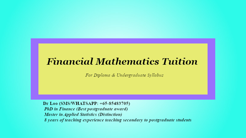 Financial Mathematics Tuition in Singapore