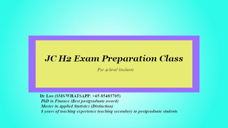 JC H2 Math Exam Revision Class Singapore