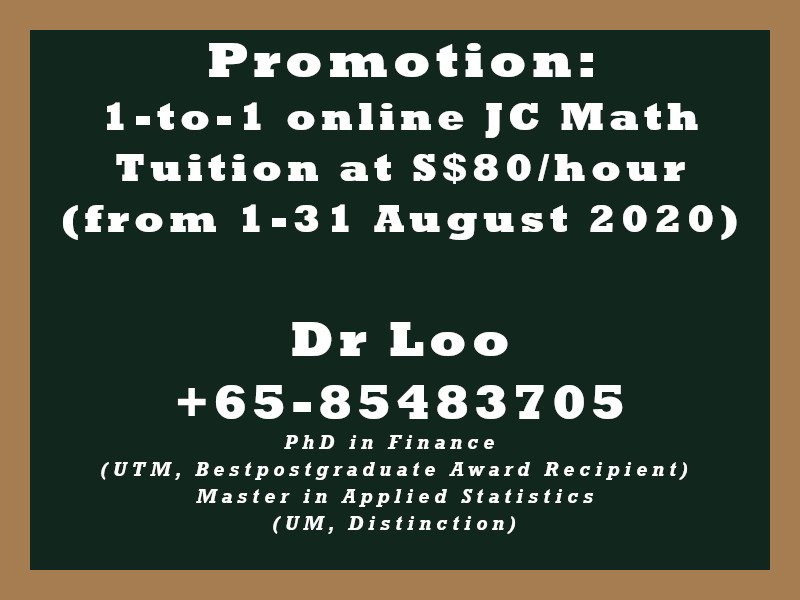 JC H2 Math Online Tuition Singapore Promotion