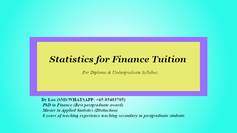 Statistics for Finance Tuition in Singapore
